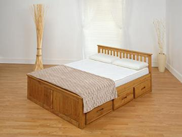 Amani International Mission Bed in 2 Parts, Wood, Waxed, 4 ft 6-Inch, Double