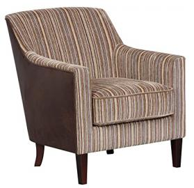 "Bloomsbury Fabric ""Brown Stripe"" Armchair Accent Chair with brown stripe insert and leather look fabric outer"