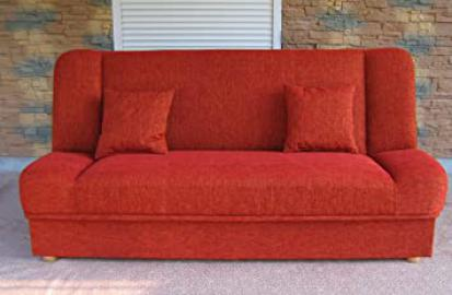 Kanapy z Polski - Red Sofa Bed Maddy with bedding place and 'click-clak' mechanism. Any colors. Wersalki