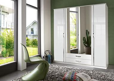 White and Black & White High Gloss Door German Made Wardrobe in 2 3 and 4 Doors with mirror doors Pre-informed and booked with TWO MAN delivery service (White, 4 Doors(180cm))