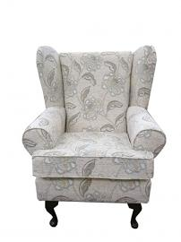 Maida Vale Floral Stone Fabric Queen Anne design wing back fireside high back chair. Ideal bedroom or living room furniture