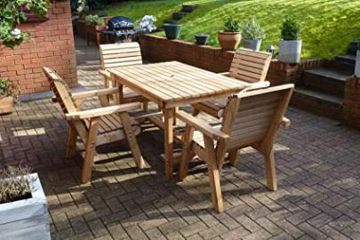 Wooden 4 Seat Table and Chair Set - Solid Wood Outdoor Garden Patio Furniture
