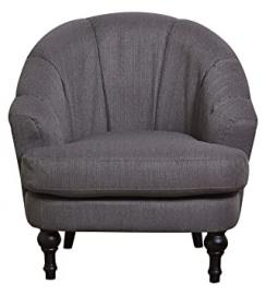 Leader Lifestyle Charles Armchair in Willow Grey Fabric, Wood