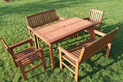 Tropicana 6 Seater Hardwood Garden Dining Set With a Table, 2 Benches and 2 Chairs