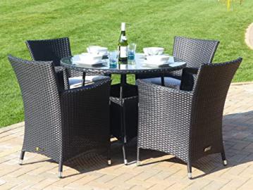 Round Rattan Garden Dining Set Black