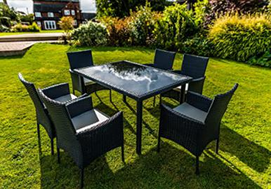 Kingfisher Black 7 Piece Rattan Effect Outdoor Garden Dining Furniture Set