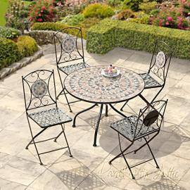 Turin Mosaic Bistro Set - Table & 4 Folding Chairs - Cast Iron - High Quality