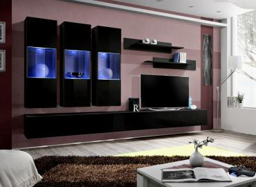 Idea E5 - black modern wall units