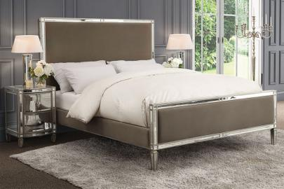Antoinette Mirrored Bed - Taupe