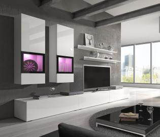 Wall unit Baros  1 white - modern entertainment center