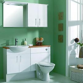 Wickes Seville White Gloss Fitted Vanity Unit & Basin - 600 mm