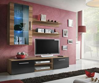 Carlisle 5 - black and walnut living room wall unit