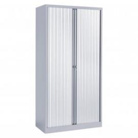 Economy tall steel storage cupboard with tambour doors supplied empty
