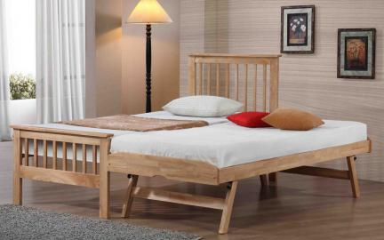 Flintshire Pentre Hardwood Guest Bed in Oak, Single