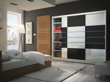 Aloa 250 - black and white storage armoire
