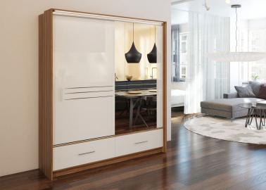 Alva 203 - Plum and white gloss front wardrobe