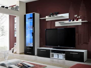 Montrose 3 - black high gloss fronts and white wall unit