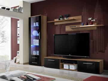 Montrose 2 - black high gloss fronts and walnut wall unit