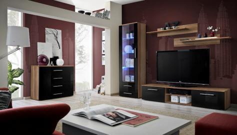 Santi 4 - balck and walnut entertainment center cabinet