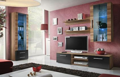 Bellis 1 - black high gloss fronts and walnut wall unit