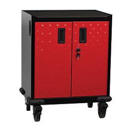 Hilka Mobile 2 Door Storage Cabinet - Red & Black