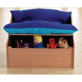 Junior 2 Seater Sofa in Wood Underseat Storage, 820 x 600 x 600mm