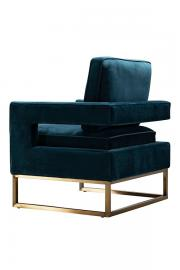 Kenza Armchair Peacock - brushed brass base