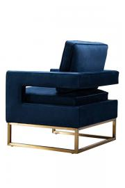 Kenza Armchair Navy Blue - brushed brass base