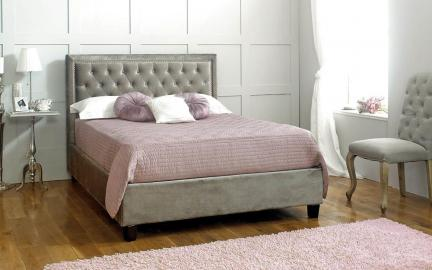 Limelight Rhea Fabric Bed Frame, King Size, Velvet Mink