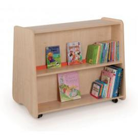 Low Double Sided Mobile Bookcase 1000 x 600 x 800mm, Free Standing