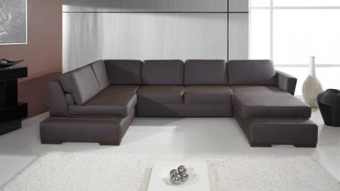 PLAZA I - Faux Leather corner sofa bed