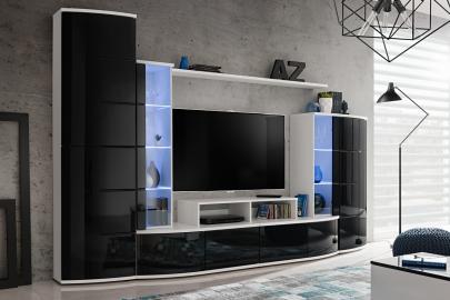 Laredo - black & white modern entertainment center