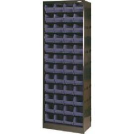 Metal Bin Cupboard With 48 Polypropylene Bins Dark Grey Black 371835