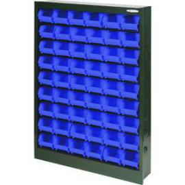 Metal Bin Cupboard With 54 Polypropylene Bins Dark Grey Black 371836