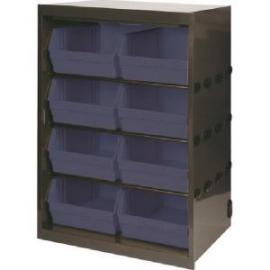Metal Bin Cupboard With 8 Polypropylene Bins Dark Grey Black 371837