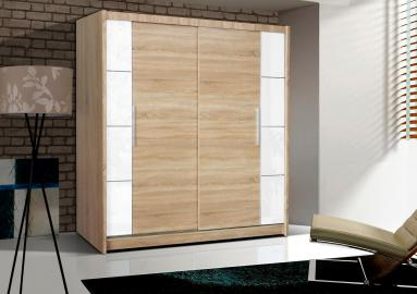 Telford II - Oak and white sliding door wardrobe
