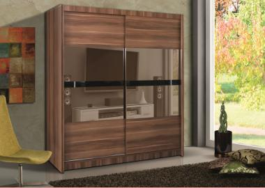 Telford I - Plum wardrobe with mirror