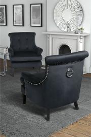 Positano Lounge Armchair - Black Velvet