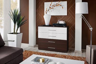 SB GO 1 - Wenge & white 4 drawer dresser