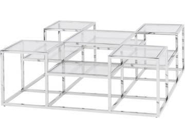 Shefford Stainless Steel and Glass Stepped Coffee Table
