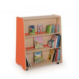 Tall Double Sided Mobile Bookcase 1000 x 600 x 1200mm, Moveable