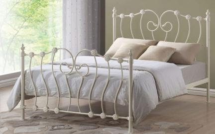 Time Living Inova Metal Bed Frame, Double, Ivory