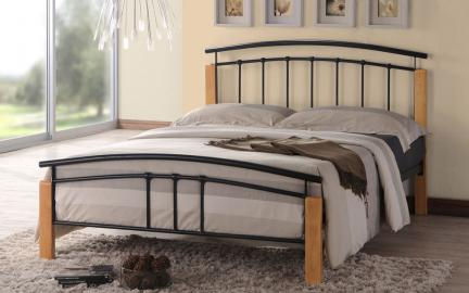 Time Living Tetras Metal Bed Frame, Single, Black & Beech
