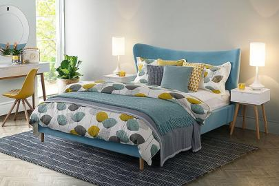 Tretton Bed Azure Blue Velvet