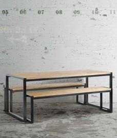 Chenier Industrial Dining Table with 2 Benches
