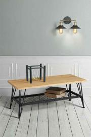 Felix Industrial Coffee Table - Solid oak and steel