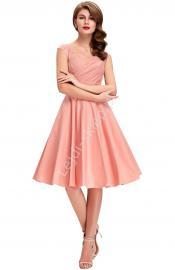 Bawełniana sukienka pin-up pudrowy róż, swingdress - Lejdi
