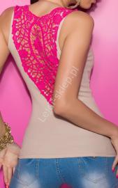 Beżowy top z różową gipiurową koronką | beżowa bokserka, bluzka klubowa - Lejdi