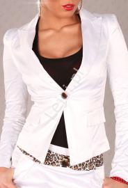 Biały żakiet damski z guziczkami na mankietach V703 - Lejdi