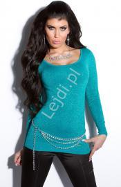 Bluzka damska dzianinowa w kolorze szafirowym z błyszczącą nicią 8020 - Lejdi